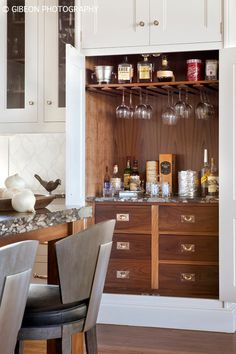 Built in bar- love this idea! Kaegebein Fine Homebuilding, Carbondale, CO. Gibeon Photography.