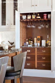 Ridge Road - transitional - kitchen - denver - by Kaegebein Fine Homebuilding Kitchen Cabinet Styles, Kitchen Cabinetry, Kitchen Tiles, Kitchen Wood, Denver, 3d Interior Design, Walnut Cabinets, Built In Bar, Transitional Kitchen