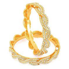 Learned Traditional Ethnic Goldtone 2pc Bangle Set Women Bracelet Indian Party Jewellery Wedding Party Jewellery