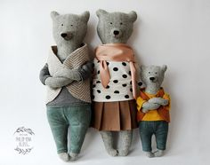 Bear family by Philomena Kloss - The Pled Softies, Plushies, Fabric Toys, Fabric Crafts, Paper Toys, Baby Toys, Kids Toys, Fabric Animals, Bear Toy