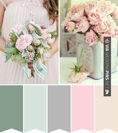 Wedding Colour Schemes 2017 – Powder Pink and Duck Egg Blue wedding colour palette      Wedding Colour Schemes 2017