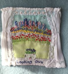 Handmade in Cornwall by M Stephens Artist Hand embroidery with vintage fabric