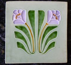 Jugendstil Fliese art nouveau tile tegel Schmider Blumen Blüten super rar top