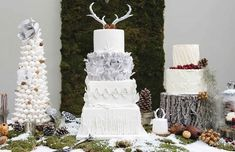 winter woodland wedding cake stag antlers by Cakes-by-Krishanthi, image by Photography by Nicola and Glenn Christmas Cake Decorations, Christmas Sweets, Woodland Wedding, Rustic Wedding, Wedding Themes, Wedding Cakes, Wedding Ideas, Snow Cake, Reindeer Cakes