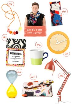 Gift Guide for the Artist So fun! Love the paint patterned clutch - how perfect is that?! The Pattern book is great for someone who loves visual art. Jewelry, a mug, a clock - those are fun but I like the super artsy stuff best. Great ideas here!