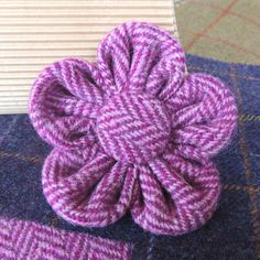 Beautiful Fabric Flower Brooch Harris Tweed by BN1BrightonMum
