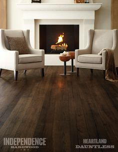 Heartland celebrates the beauty of white oak hardwood and is crafted by hand in the USA, showcasing the natural grain from the heart of the log.