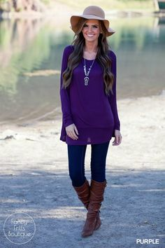 Cute, comfy and sooo many colors to choose from! This round neck, long sleeve…