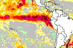 Anomalia de temperatura do mar no Pacífico Equatorial Leste já é de Super El Niño, inédita desde Super Niño 1997/98.