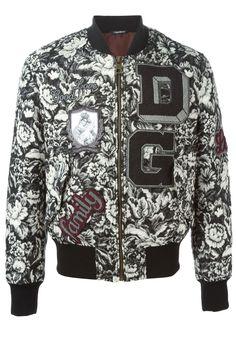 Dolce & Gabbana Amore Emroidered Gray Floral Baroque Family Jacquard Bomber Men's Runway Jacket