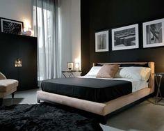 masculine modern bedroom ... dark feature wall ...