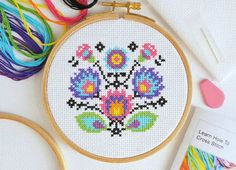 Perfectly equipped for beginners, this Folk Flowers cross stitch kit from The World In Stitches features a stunning wild flowers design, with plenty of colour and easy to stitch detailing. Cross Stitch Beginner, Cross Stitch Kits, Modern Cross Stitch Patterns, Cross Stitch Designs, Folk Embroidery, Cross Stitch Embroidery, Embroidery Designs, Bordado Popular, Modern Floral Design