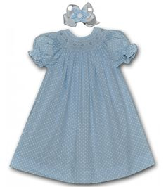 This and That For Kids - Hand Smocked Lt Blue White Polkadots Geometric Bishop , $36.00 (http://www.thisandthatforkids.com/hand-smocked-lt-blue-polkadots-geometric-bishop/)