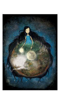 Good Night Illustration Print Earth Sky Galaxy Girl Green Brown Cobalt Black Fall Autumn Hair Stars Moon