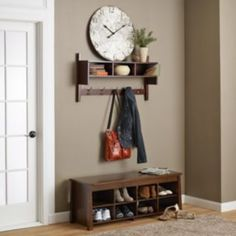 home i like the small shelves integrated with the hangers More How To Choose A Curio Cabinet Curio c Small Shelves, Living Table, Storage Bench, Bench With Shoe Storage, House, Interior, Storage, Furniture, Shoe Storage