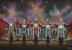"""""""Wine Country / Style Biker"""" - Originals - All Artwork - David Mann - Motorcycle Art Fine Art World Motorcycle Posters, Bike Art, Motorcycle Helmets, Rockabilly, Futuristic Helmet, David Mann Art, Wolf, Harley Davidson Logo, Best Mountain Bikes"""