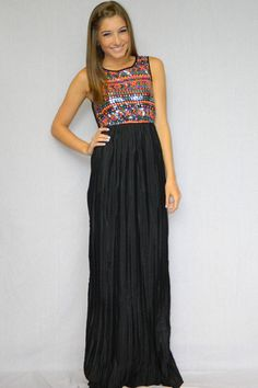Tribal Chic Maxi Dress (Black)