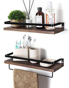 Wall Mounted Storage Shelves, Bathroom Wall Shelves, Wood Wall Shelf, Kitchen Shelves, Bathroom Sets, Wood Shelves, Kitchen Hooks, Kitchen Dining, Brown Bathroom