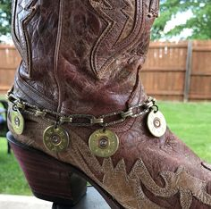 12 Gauge Brass Shotgun Shell Boot Bracelet/Choker, Boot jewelry, Women's jewelry, Handmade jewelry, Bullet jewelry, Upcycled bullets by ShotThruTheHeart on Etsy