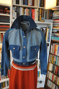 Vintage 1970s twotoned midriff womens denim/jean by rubyruths, $50.00