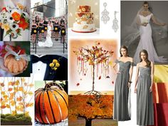 Fall wedding color ideas in orange / gray hues love