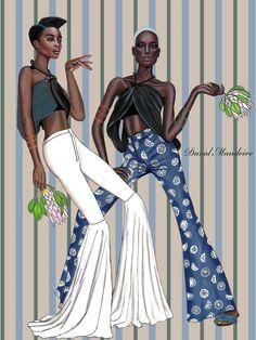 Fashion illustration - Maria Borges & AJAK DENG by David Mandeiro Illustrations. Illustration Mode, Fashion Illustration Sketches, Fashion Sketchbook, Fashion Sketches, Dope Fashion, Fashion Art, Girl Fashion, Fashion Outfits, Countryside Fashion