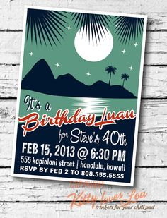 PRINTABLE Birthday Party Invitation Retro Hawaiian invite 5 x 7 hi-res files Beachy Cottage diy on Etsy, $18.00