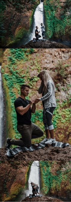 This hiking proposal is so perfect. He got on one knee in front of a waterfall!