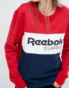 Reebok   Reebok Classics Panel Logo Oversized Sweatshirt In Red And Navy