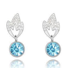 Bamboo Leaves Design Austrian Crystal Pendant Earrings - Blue