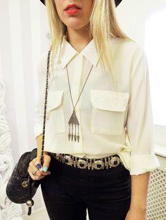 Vtg POCKET Embroidered PARIS Chic Slouchy Peak Collar Loose Blogger Shirt 10 12   eBay