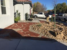 Front year remodel with flagstone