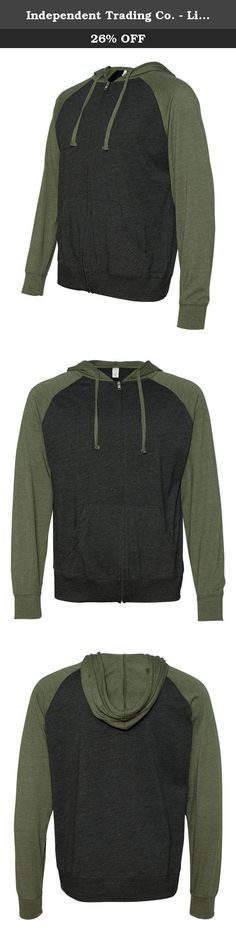 Independent Trading Co. - Lightweight Jersey Raglan Hooded Full-Zip T-Shirt - SS155RJZ. - 4.5 oz., 60/40 cotton/polyester, 30 singles - Gunmetal Heather/Black and Charcoal Heather/Black have 100% cotton sleeves - Split-stitch double-needle sewing throughout - Contrast sleeves, hood and flat drawcord with sewn eyelets - 1x1 rib cuffs and waistband - Twill neck tape - Split front pouch pocket - Kissing zipper - Tear away label.