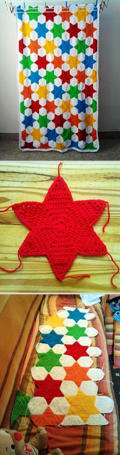 Hexagon Based Crochet Star Blanket. This crochet star blanket is made with lots of different coloured stars and hexagon based stitch patterns. It is a both functional and decorative item for your home.