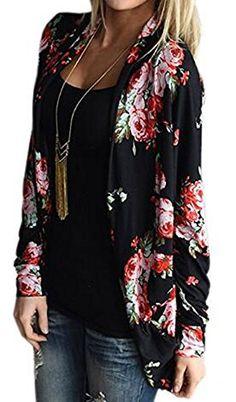 UK Women Cardigans - KaKing Womens Boho Irregular Long Sleeve Wrap Kimono Cardigans Casual Coverup Coat Tops Outwear (Large, Black). It is an Amazon affiliate link.