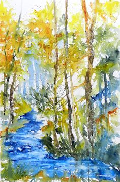 Cristina Dalla Valentina Art: Torrente nel bosco 2 - Creek in the Woodland 2 - www.cristinadallavalentina.com  #watercolor #watercolor #painting #landscape #trees #forest #art #artist #artwork