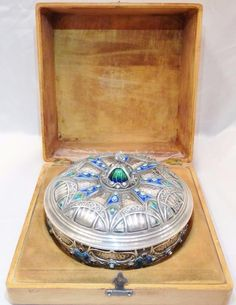 Faberge 88 Silver Box W/Diamonds, Enamel, & More