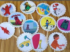 Book theme cupcake toppers/children's book theme by VOCrafted