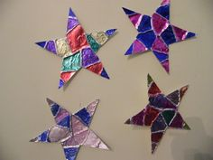 "stars out of aluminum foil, glue gun and markers. For creation day 4 or ""I can be Gods shining star"""