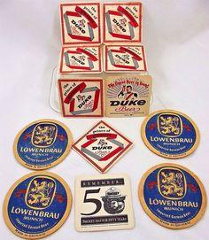 Vtg Lot of Beer Coasters Lowenbrau Duke Smokey Bear Duquesne Pittsburgh Germany