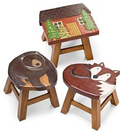 Plow and Hearth ...love that bear! Hand Carved Acacia Woodland Friends Stool