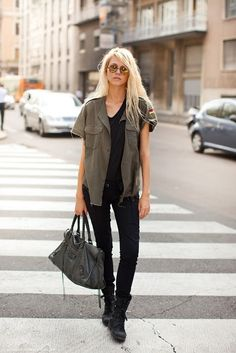 Military style shirt, combat boots, skinny jeans! Comfy, style, edgy!