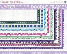 60% OFF SALE Watercolor Border Clipart Frames Doodle Borders Clip Art Instant Download Images