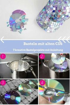 Basteln mit alten CDs – 7 kreative Bastelprojekte mit Anleitung You don't have to end up in the trash can. In addition, there are very good prerequisites for imaginative handicrafts with CDs. Cd Mosaic, Cd Diy, Diy Bottle, Diy Candles, Diy Crafts For Kids, Diy Room Decor, Handicraft, Diy Gifts, Craft Projects