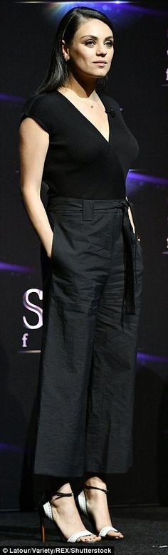 Slick: The pant silhouette's ample fabric had a silhouette that resemble a voluminous skirt when she posed at certain angles