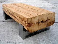 Amazing old oak table.Old, reclaimed oak beams turned into coffee table. Use big beams from Gpa Q's Timber Furniture, Industrial Furniture, Rustic Furniture, Diy Furniture, Furniture Design, Business Furniture, Glass Furniture, Outdoor Furniture, Furniture Stores