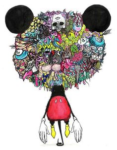Spencer Mann Imagines Mickey Mouse & Others in Psychedelic Manner #psychedelicart trendhunter.com