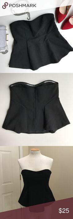 Zara Strapless Black Peplum Top Brand new, tags removed. Silicone trim around the top for a better snug fit. Zara Tops