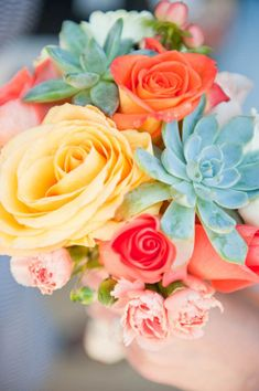 Succulent, yellow and coral flowers :: photos by Kaitie Bryant Photography