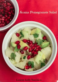 Jicama Pomegranate Salad, so delicious and perfect for the holidays! #healthy